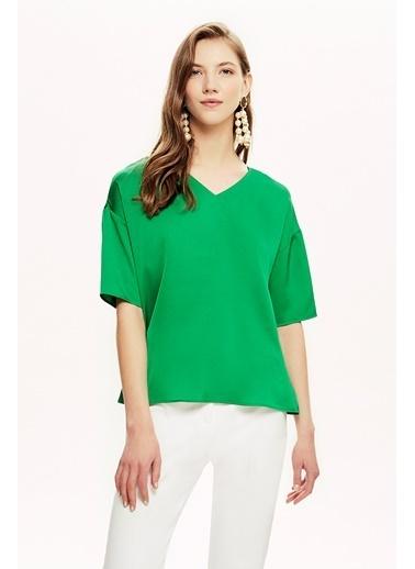 NaraMaxx Şerit Aksesuarlı Bluz Yeşil